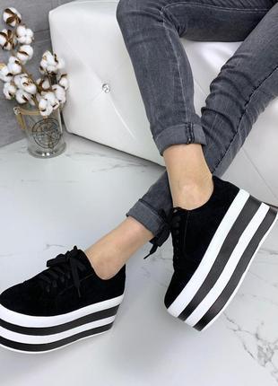 Замшевые кроссовки на высокой платформе,чёрные кроссовки на вы...