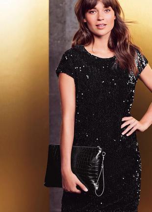 Роскошное черное платье в пайетки next