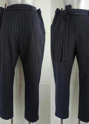 Стильные зауженные брюки new look  в полоску с поясом