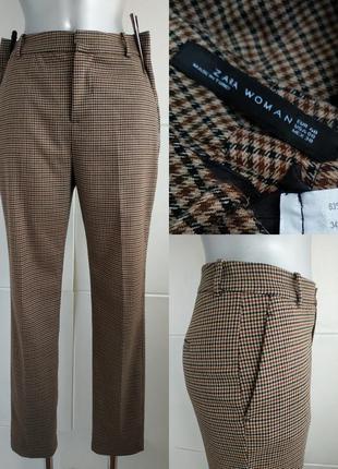 Стильные брюки zara в клетку модного зауженного кроя