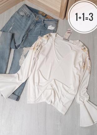 Per una стильная блуза l-xl белая длинный рукав волан принт цв...