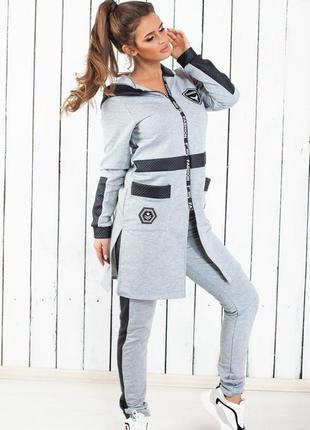 Очень крутой спортивный костюм со вставками из эко-кожи