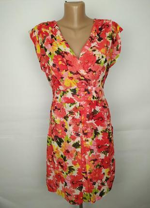 Платье шифоновое яркое красивое на подкладке с карманами uk 14...