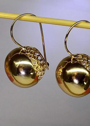 Позолоченные серьги с крупными шариками, сережки, позолота
