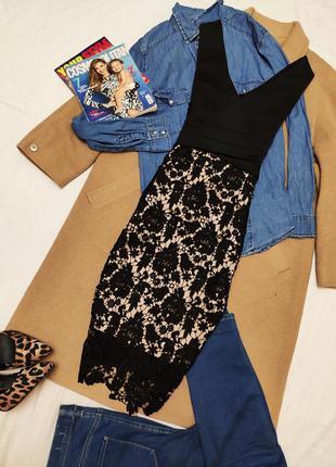 Платье вечернее чёрное бежевое с кружевом коктельное классичес...