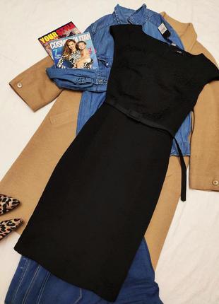 Чёрное классическое платье миди с поясом на подкладке новое с ...