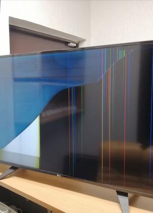 Телевизор на запчасти или под восстановление. Разбита матрица.