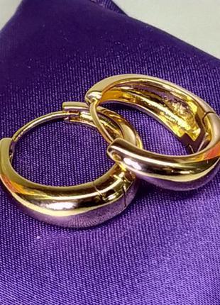 Позолоченные серьги-кольца, сережки, позолота