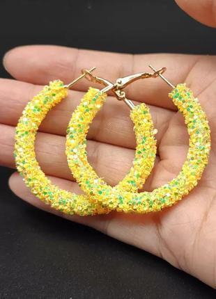 Серьги кольца блестящие жёлтые
