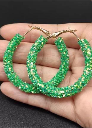 Серьги кольца блестящие зелёные