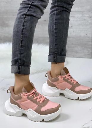 Розовые кроссовки на массивной подошве, яркие спортивные кросс...
