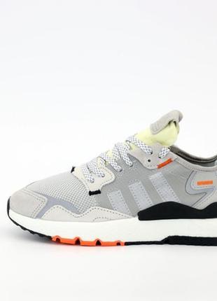 Adidas nite jogger grey white, мужские кроссовки адидас, летни...