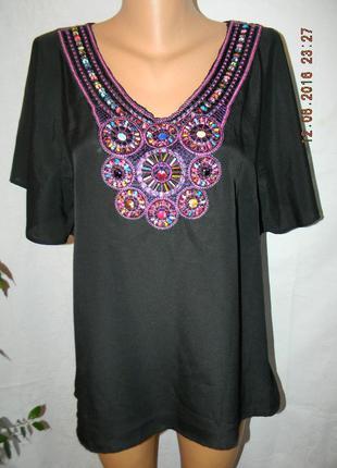 Новая блуза с оригинальной вышивкой бусинами papaya