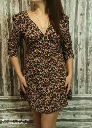 Шикарное платье с рукавом с узором размер 46-48модная одежда п...
