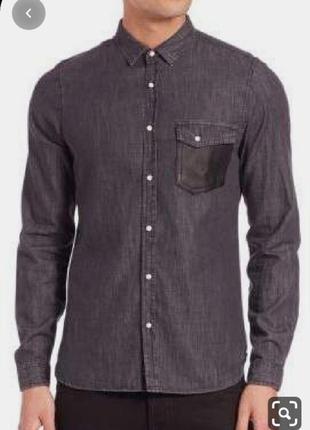Мужская джинсовая приталенная рубашка с вельветовым воротником