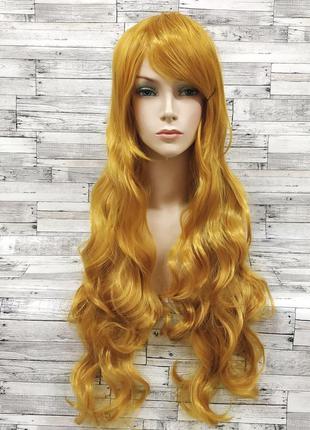 Парик желтый блонд золотой волнистый 80см 3488