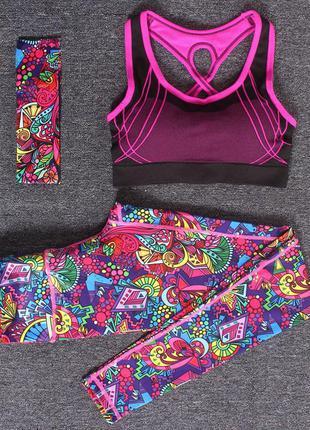 Спортивный костюм женский для фитнеса, йоги. комплект лосины, ...