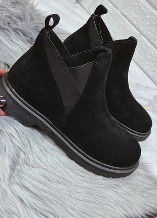 Новые шикарные женские черные весенние ботинки