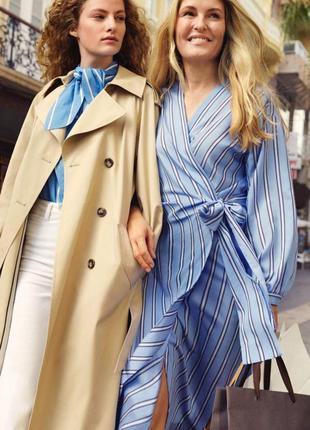 Премиальное роскошное платье на запах в полоску h&m