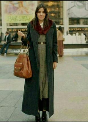Длинное шерстяное двубортное пальто макси прямого кроя bhs