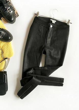 Идеальные натуральные кожаные зауженные брюки с высокой посадк...