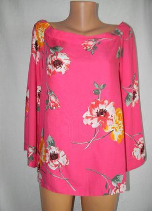 Натуральная блуза с принтом цветы 14р