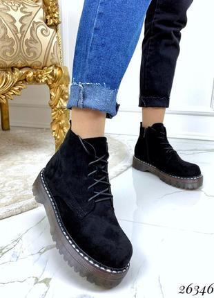 Чёрные замшевые ботинки на тракторной подошве,замшевые ботинки...