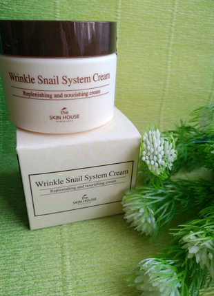 Улиточный крем THE SKIN HOUSE Wrinkle Snail System Cream, 50мл.