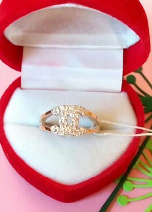 """Серебряное кольцо """"CHANEL"""" c вставками золота"""
