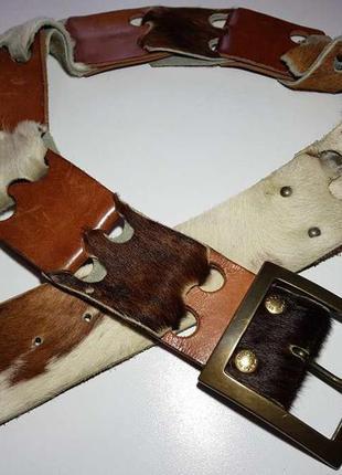 Ремень italy, кожаный + натуральный мех, 104*6 см, сост. отлич...