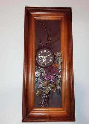 Часы настенные, ручная работа, натур. кожа + дерево! как новые!
