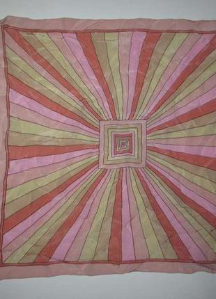 Шелковый платок с узорами, 52*52см, как новый!