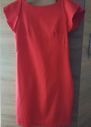Платье красивое кораловое р. s-м, состояние идеальное