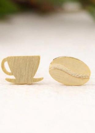 Сережки, кава, чашка, серьги.