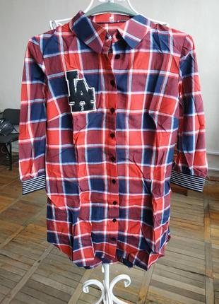Женская рубашка в крупную клетку красная