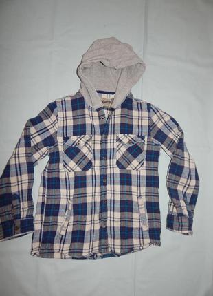 Рубашка теплая с капюшоном как куртка ветровка на мальчика 11лет