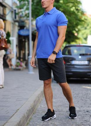 Комплект - темно-серые шорты и синяя футболка поло