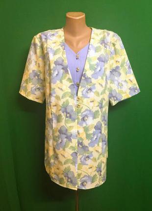 Льняная длинная блуза-пиджак canda