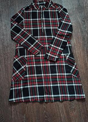 Хлопковая туника-платье zara в клетку