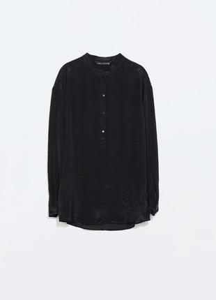 Рубашка из 100% шёлка zara с воротником стойкой