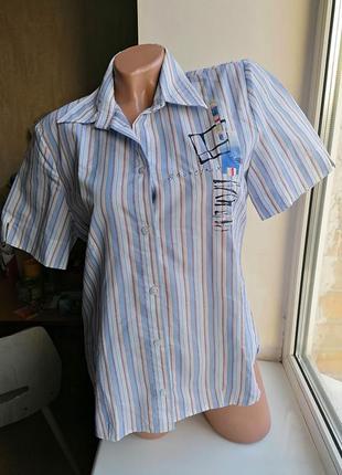 Летняя рубашка в полоску без рукавов с рисунком della citta ит...
