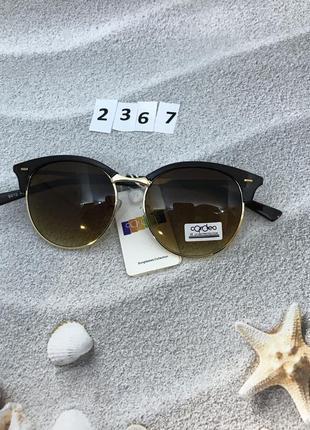 Модные коричневые круглые очки с золотой оправой к. 2367