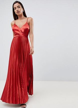Платье макси с открытой спиной низ плиссе  бренда asos (2238)