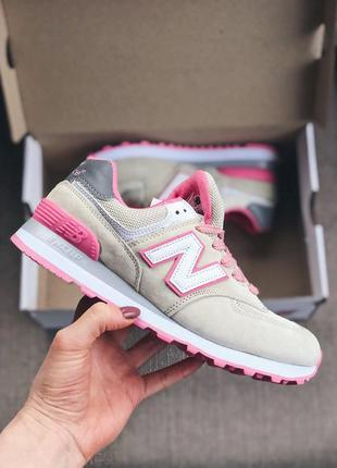 Женские кроссовки new balance 574 бежевые с розовым