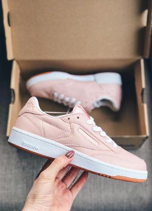 Женские кроссовки reebok club c 85 pink