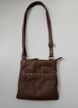 Кожаная сумочка, клатч. цвет капучино. genuine leather