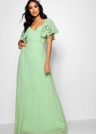 Вечернее пастельно зеленое шифоновое платье макси с кру