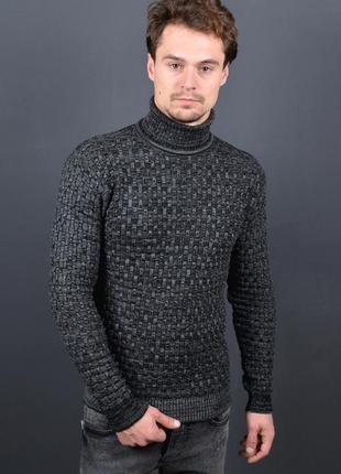 Гольф вязаный мужской new тёмно-серый свитер под горло недорого