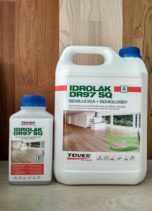 Двокомпонентний водний лак Tover Idrolak DR97SQ 5л поліуретан