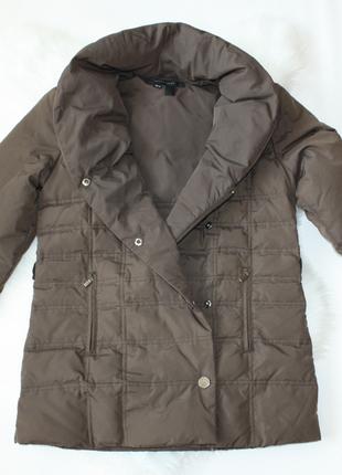 Пуховик куртка зефирка стеганая коричневая демисезонная зимняя...